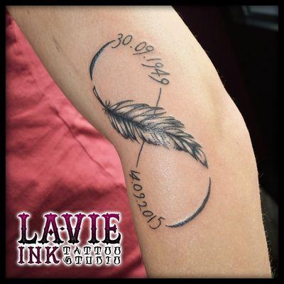 #feather #infinity #tattoo #tattooer #tattoolife