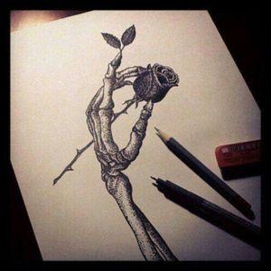 Simply beautiful #Skeleton #Rose #Hand