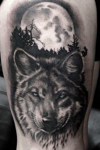 #wolf #moon #night #woods #trees #forest #moonlight #tattoooftheday #realism #blackandgrey