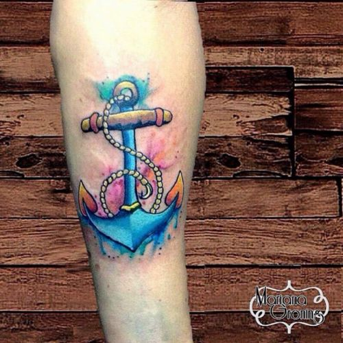 Watercolor anchor tattoo #tattoo #marianagroning #karmatattoo #cdmx #MexicoCity #watercolor #watercolortattoo #watercolortattooartist