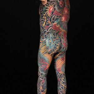 Henriks bodysuit , best client . Doing the arms now to complete the full body . #bodysuit #royaltattoodenmark #dragon #raijin #henning