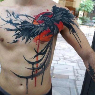 #phoenix #black #red #watercolor #blackphoenix #bird #sun - #tattooartist #dynozartattack