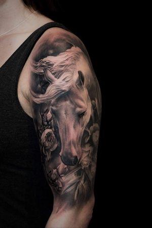 For more of my tattoos, check out www.instagram.com/bacanubogdan or www.Facebook.com/bacanu.bogdan.7 #BacanuBogdan #tattoooftheday #tattoo #blackandgrey #realism #realistic #tattooartist #sleeve #horsetattoo