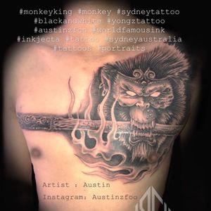 Artist: Austin Instagram:Austinzfoo #monkeyking #tattoo #sydneytattoo #yongztatoo #austinzfoo #tattoos #inkstagram #ink #blackandwhite #sydneyaustralia