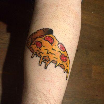 New calf tatt! #pizza