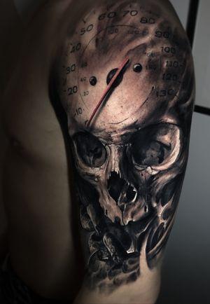 #skull #skulltattoo #speed #horror #evil #tattoo #vainiusanomaly #realism #realistic #realistictattoo #color #colortattoo #blackandgrey