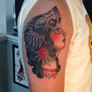 #traditional #traditionaltattoo #ladyheadtattoo #wolfhead