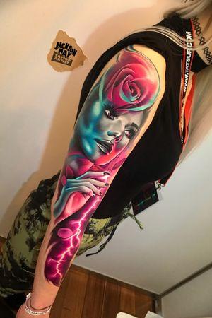 #girl #rose #lightning #glow