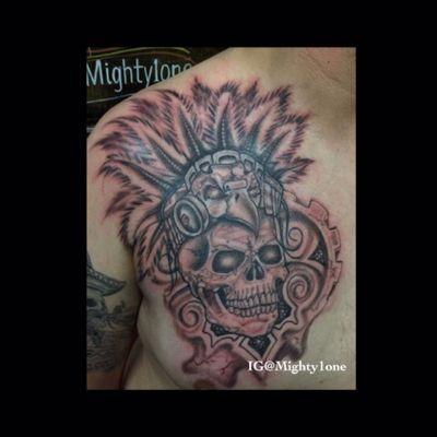 #Aztec #aztectattoos #skull #skulltattoo #blackwork #blackandgrey #skullhead #nativeindianfeathers #indianheaddress #headdress