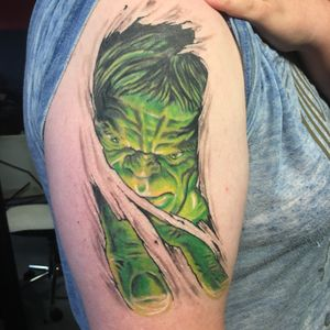 Healed picture of The Hulk I did, still more to go #tattoo #hulk #marvel #avengers #newzealand #skinrip