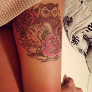 1985 II #oldschool #roses #color #birthtime #1985 #owl #madein #luxembourg #2013 #leg #tattoo #partsofmylife #0130 #pocketwatch
