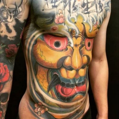 #hannyamask in #color awesome #full #torso and #sleave by #assassintattoolee @assassintattoolee