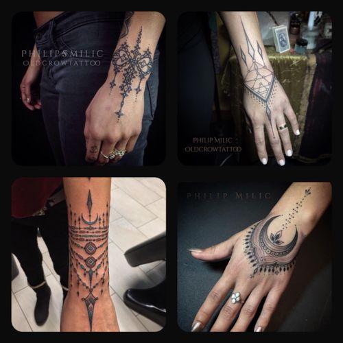 Beautiful #handtattoo #wristtattoo #bracelets