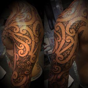 Rework to correct design of old ta moko by another artist plus addon #tamoko #maorimoko #maoristyle #maoriAotearoa #shouldersleeve #shouldertattoo