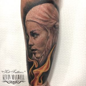 Outer forearm piece on some rough skin! Daenereys Targaryen mother of dragons game of thrones piece.