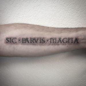 #gravure #tattoogravé #tattoogravure #carvedtattoos #lettering #sicparvismagna #sicparvismagnatattoo #3dtattoo #realistictattoo #realism #blackandwhite #blackandgrey #blackandgreytattoo #blackandwhitetattoo #tattoodo #lespetitspointsdefanny #tattoolausanne