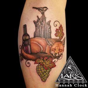Tattoo by Lark Tattoo @larktattoo artist Hannah Clock #fox #foxtattoo #animaltattoo #colortattoo #wine #winetattoo #grapes #grapestattoo #customtattoo #chickadee #chickadeetattoo #calftattoo #memorialtattoo #leaves #leavestattoo #leaftattoo #femaletattooer #femaletattooartist #tattoo #tattoos #tat #tats #tatts #tatted #larktattoo #larktattoos #larktattoowestbury #tattooig #tattoosofinstagram #instatats
