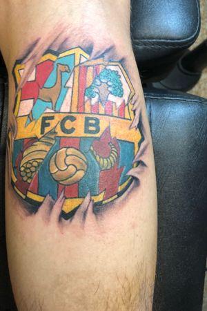 Fc Barcelona with a peruvian shield