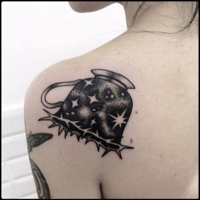 #black #teacup #stars #tattoo #blackwork #totemica #ontheroad