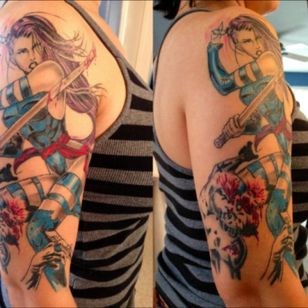 Psylocke tattoo done by Pete Terranova in Las Vegas, NV #Psylocke #MarvelTattoo #marvel #inkedgirl #inked #xmen #XMenTattoo