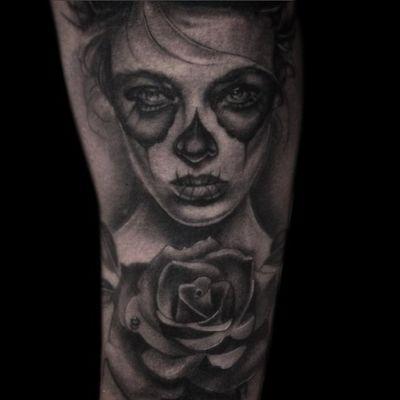 Tattoo by Lance Levine. See more of Lance's work here: https://www.larktattoo.com/long-island-team-homepage/lance-levine/ #realistictattoo #bng #blackandgraytattoo #blackandgreytattoo #realism #tattoo #tattoos #tat #tats #tatts #tatted #tattedup #tattoist #tattooed #tattoooftheday #inked #inkedup #ink #amazingink #bodyart #tattooig #tattoosofinstagram #instatats #larktattoo #larktattoos #larktattoowestbury #westbury #longisland #NY #NewYork #usa #art #dayofthedeadgirl #dayofthedead #dayofthedeadtattoo #dayofthedeadgirltattoo #rose #RoseTattoos #rosetattoo