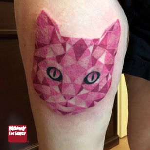 #cat #color #graphic #origami #pink #eye