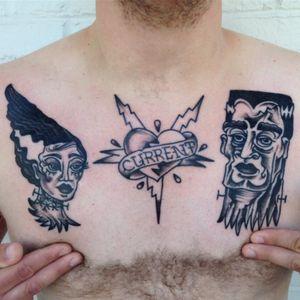 #frankenstein #brideoffrankenstein #chestpiece #tattoo