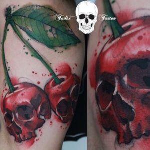 #cherryskulltattoo #cherryskull #cherry #skull #watercolor #leaf #simonaborstnar @simonaborstnar #welove