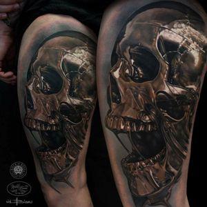 #skull #goldskull #metal #realistictattoo #realistic #vidblanco