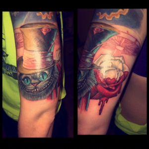#timburtontattoo #AliceinWonderland #TattooCheshireCat #realism