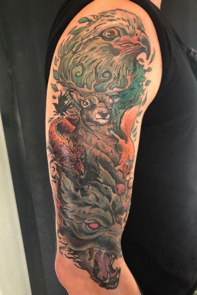 Yggdrasil and its beast- sleeve in progress #yggdrasil #norse #norsemythology #mythology