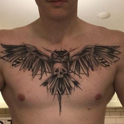 Healed #Sketchy #sketch #owl #owltattoo #skull #skulltattoo #fineline #chest #chesttattoo #wings