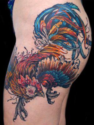 Rooster tattoo #roostertattoo #rooster #cock #bird #aubreymennella #illustrative #IllustrativeTattoo