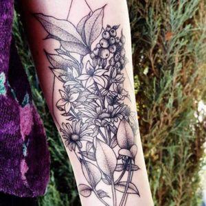 Blackwork Berry Wildflower Botanical Tattoo