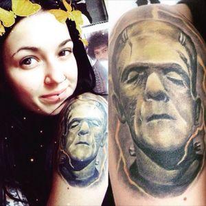 Frankie 💚 #frankensteintattoo #frankenstein #monster #monstertattoo