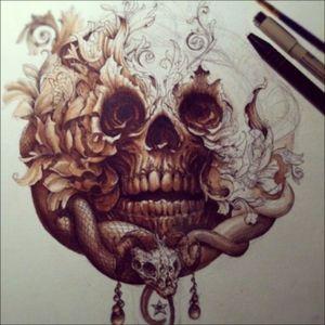 #skull #snake #flower #tattooidea #plan