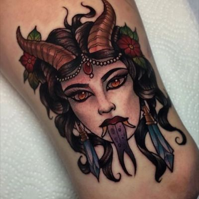 #IckAbrams #devil #lady #horns #neotraditional