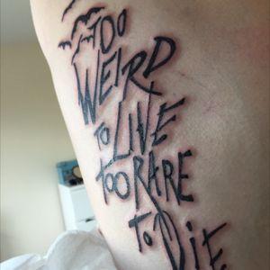 Fresh Hunter S Thompson inspired piece by Mike @ Blue Wizzard Tattoo #ribs #script #huntersthompson #bats