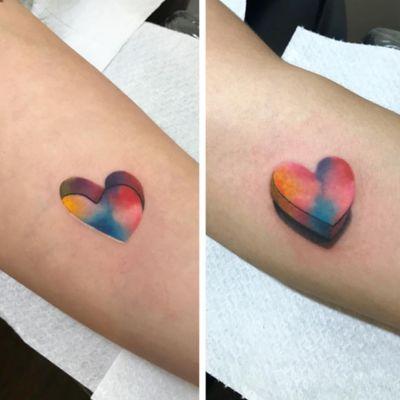 #heart #3D #color by #boratattoo @bora_tattoo #newschool