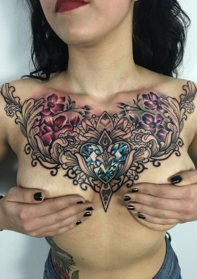 Lovely chest piece i did last summer! Hope you like it!! #thescientist #travellingtattooist #ornamentaltattoo #jeweltattoo #gemtattoo #rose #jewel #ornamental #ornate #blackwork #dotwork #realism #hennism #floraltattoo #tattoodo #tattoodoapp #tattoo #ink #inkedgirls #tattooedgirls #tattoooftheday #amazingtattoos #tatouage #tatuaje #tatuagem #ryansmithtattooist #tattooartist #chestpiece #chesttattoo #overboob