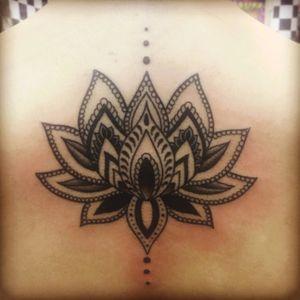 #lotusflower #dots #upperback #delicate #flower #balckandgrey #back #feminine