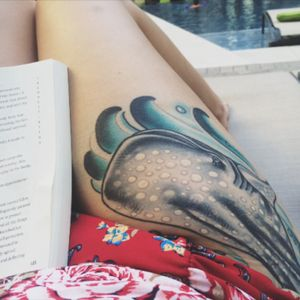 My whale shark bud, Frankie 💛 tattooed by Mo Malone in ATX, 2014