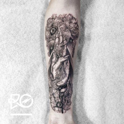 By RO. Robert Pavez • Smoke of Ye Elder Sign • Studio Nice Tattoo • Stockholm - Sweden 2016 • Please! Don't copy® • #engraving #dotwork #etching #dot #linework #geometric #ro #blackwork #blackworktattoo #blackandgrey #black #tattoo