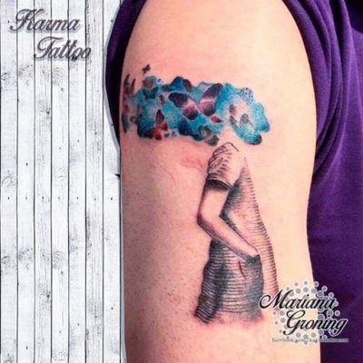Watercolor and realism tattoo #tattoo #tatuaje #color #mexicocity #marianagroning #tatuadora #karmatattoo #awesome #colortattoo #tatuajes #claveria #ciudaddemexico #cdmx #tattooartist #tattooist #watercolor #acuarela
