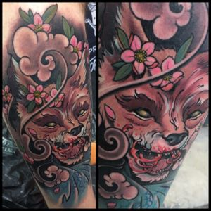 Furious fox!! Done at the London tattoo convention!:) #tattoodo #wearesorrymom #killerinktattoo #inkjecta #japanese #cherryblossoms #fox #foxtattoo #irezumi