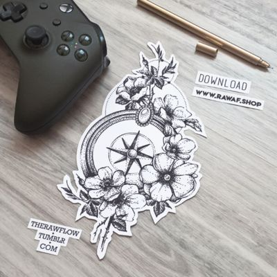 Compass with flowers, you can download this design and use it for your next tattoo: www.rawaf.shop/tattoo #compass #compasstattoo #flowers #flowerstattoo #dotwork #dotworktattoo #blackwork #blackworktattoo #travel #traveltattoo #wanderlust #wanderlusttattoo