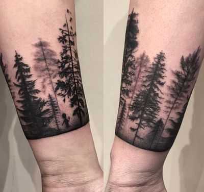 #forest #landscape done by Sue #blackwork