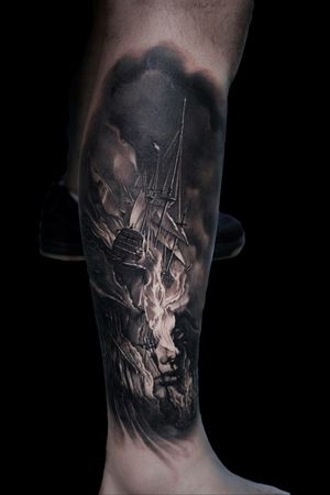 For more of my tattoos, check out www.instagram.com/bacanubogdan or www.Facebook.com/bacanu.bogdan.7 #BacanuBogdan #tattoooftheday #tattoo #blackandgrey #realism #realistic #tattooartist #sleeve #ship