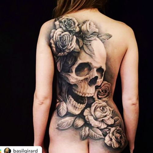 Very cool#skull#flowers#roses