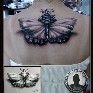 Butterfly clock tattoo #atalaygolge @atalaygölge #butterfly #butterflytattoo #clock #clocktattoo #3dtattoo #turkey #izmir